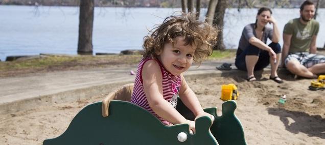 enfant, parents, jeux, parc, été